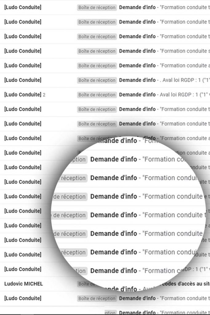 Demandes d'informations par le site internet de Ludo Conduite