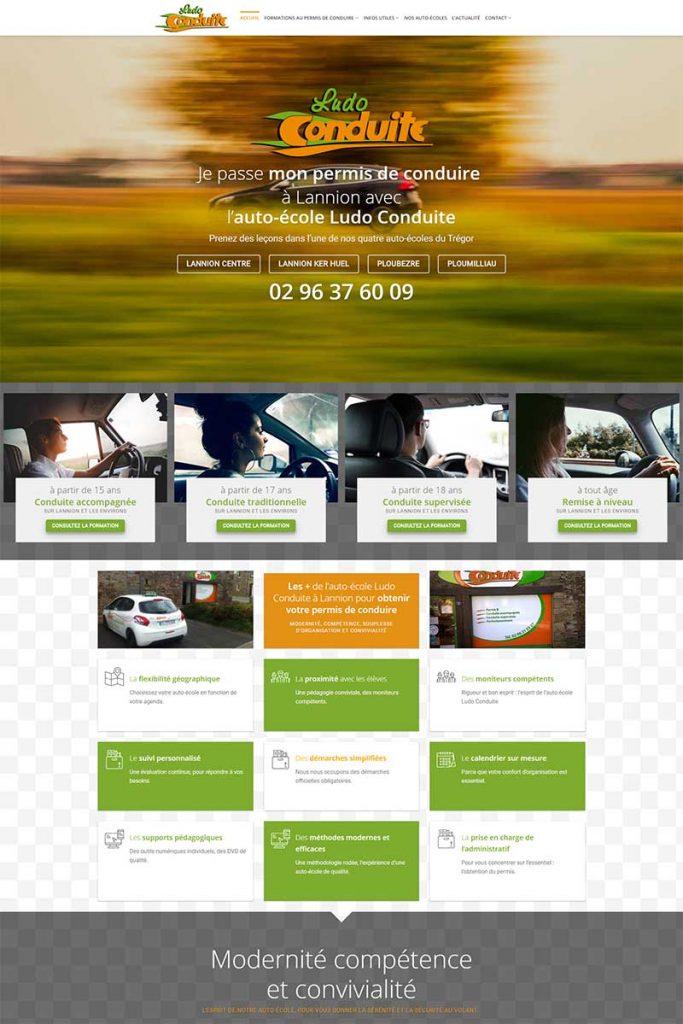 Page d'accueil du site internet de Ludo Conduite à Lannion, Ploubezre, Ploumilliau