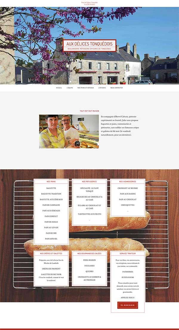 Création du ste internet de la boulagngerie de Tonquédec, dans les Côtes d'Armor