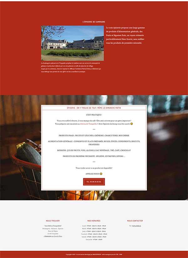 Création du site internet de la boulangerie de Tonquédec, près de Lannion