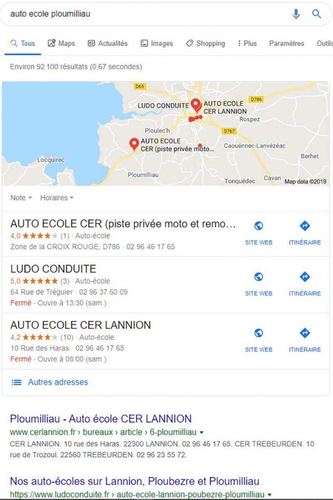 Référencement du site de Ludo Conduite sur Ploumilliau