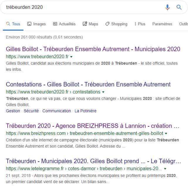 site internet elections municipales Trébeurden 2020 BreizhPress