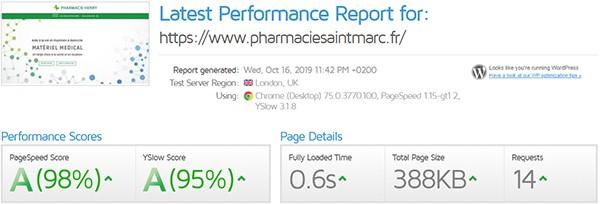 performances du site internet de la Pharmacie Henry à Lannion