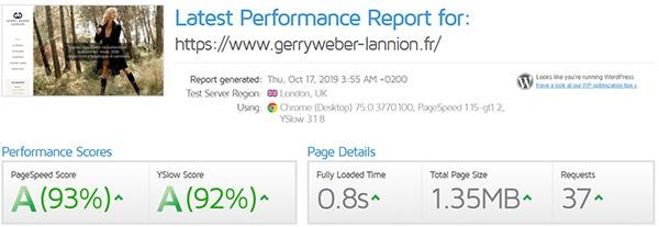 Lannion Gerry Weber performances du site