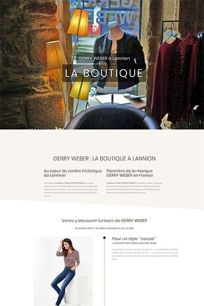création du site Gerry Weber Lannion - la boutique